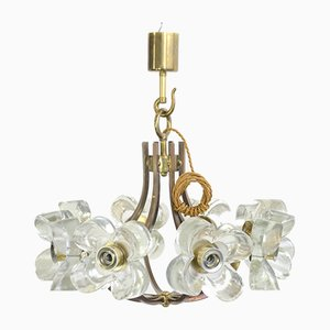 Mid-Century Brass and Glass Chandelier from Sische, 1960s