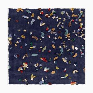 Kleiner blauer Chaos Leinenteppich von Emko