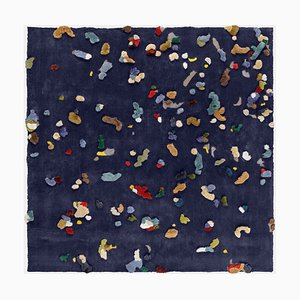 Small Blue Chaos Linen Rug from Emko