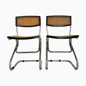 Vintage Esszimmerstühle aus Holz & Strohgeflecht, 1970er, 2er Set