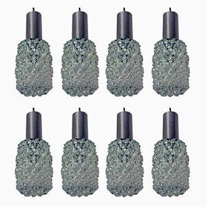Hängelampen aus Glas & Metall von Doria Leuchten, 1960er, 8er Set