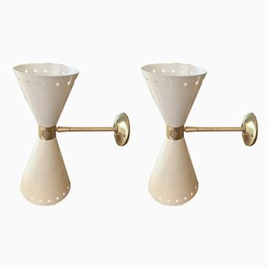 Brass Sconces from Stilnovo, 1950s, Set of 2