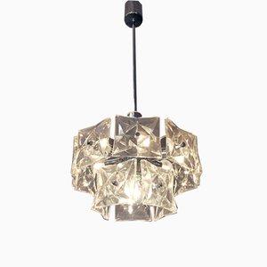 Deutsche Deckenlampe aus Kristallglas & Chrom von Kinkeldey, 1960er