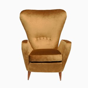 Gold Velvet Armchair by Emilia Sala and Giorgio Madini for Fratelli Galimberti Cantù, 1950s