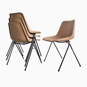 Beistellstühle aus Kunststoff & schwarz lackiertem Metall, 1970er, 4er Set