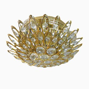 German Crystals & Gilt Brass Ceiling Lamp from Palwa, 1970s