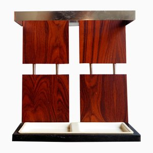 Rosewood Veneer and Chrome Umbrella Stand, 1970s