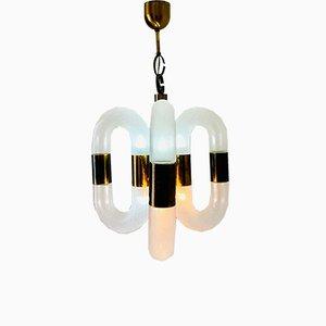 Vintage Deckenlampe aus Messing & Glas von Aldo Nason für Mazzega, 1970er