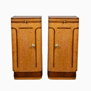 Art Deco Maple Cabinets, 1930s, Set of 2