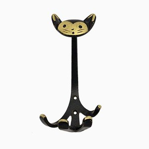 Mid-Century Austrian Black Brass Coat Rack by Walter Bosse, 1950s