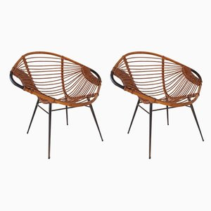 Mid-Century Rattan Lounge Chairs, Set of 2