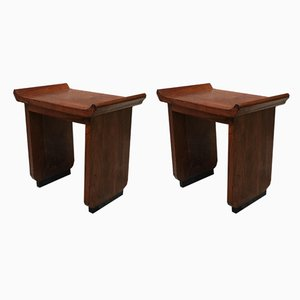 Art Deco Italian Mahogany Stools, 1930s, Set of 2