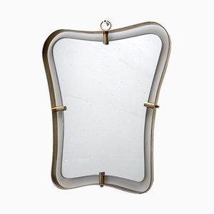 Mid-Century Spiegel mit Rahmen aus Messing von Gio Ponti, 1950er