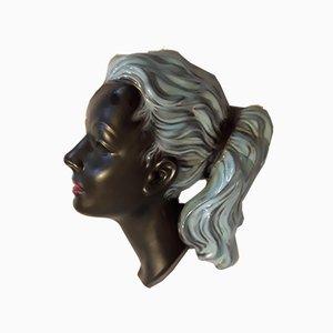 Mid-Century Modell-Nr. 3408 Wandmaske aus Keramik von Albert Strunz für Cortendorf, 1950er