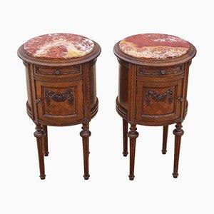 Antike zylinderförmige französische Nachttische aus Eiche & Marmor, 2er Set