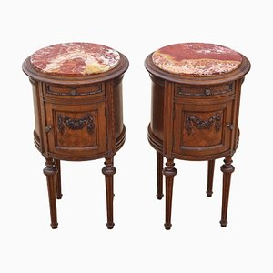 Antique French Oak and Marble Cylindrical Nightstands, Set of 2