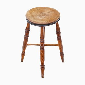 19th Century Victorian Elm and Mahogany Stool