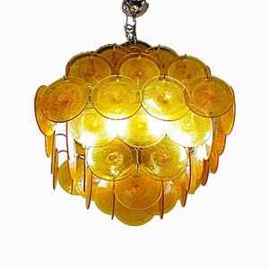 Mid-Century Murano Glass Disc Chandelier by Carlo Nason, 1980s