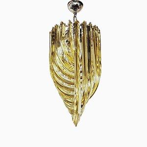 Triedri Kronleuchter mit Behang aus bernsteinfarbenem Muranoglas von Carlo Nason für Franco Luce, 1980er