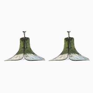 Grüne Deckenlampen aus Muranoglas von Carlo Nason für Mazzega, 1970er, 2er Set