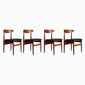 Mid-Century Esszimmerstühle mit Gestell aus Teak & Bezug aus Kunstleder, 1960er, 4er Set