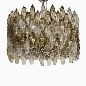 Taupe and Clear Murano Glass Poliedri Chandelier, 1980s