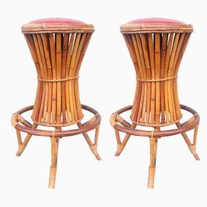 Tabourets en Bambou, années 50, Set de 2