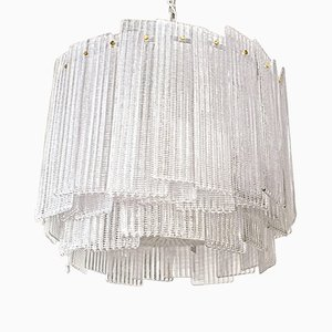 Clear Murano Glass Drum Chandelier, 1980s