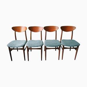 Dänische Esszimmerstühle aus Teak mit ellipsenförmigen Lehnen, 1960er, 4er Set