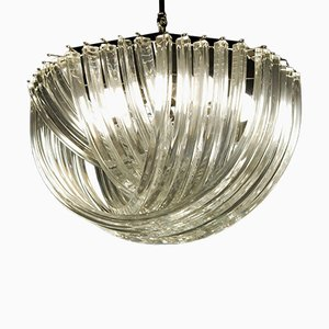 Clear Murano Glass Triedri Chandelier by Carlo Nason