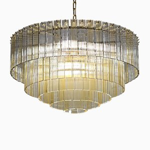Mid-Century Amber and Clear Murano Glass Fettucce Chandelier, 1980s