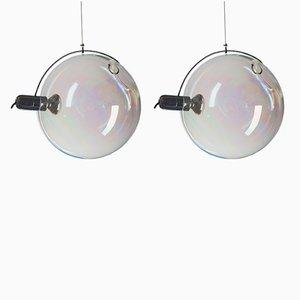 Deckenlampen aus irisierendem Muranoglas von Carlo Nason für Lumenform, 1970er, 2er Set