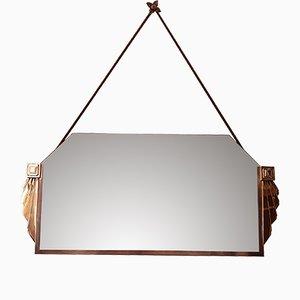 Art Déco Spiegel mit Rahmen in Silber & Gold, 1930er