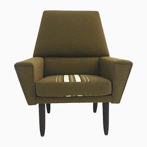 Dänischer Mid-Century Sessel mit Gestell aus Teak & grünem Wollbezug, 1960er