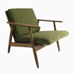 Mid-Century Danish Green Wool and Beech Lounge Chair, 1960s
