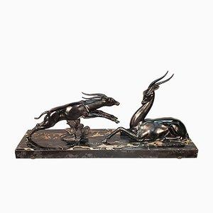 Grande Sculpture Antilopes Art Déco par Limousin Jacques, années 30