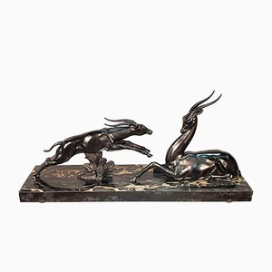 Large Art Deco Antelopes Sculpture by Limousin Jacques, 1930s
