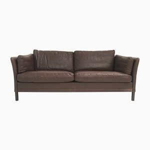 Large Mid-Century Danish Brown Leather 2-Seater Sofa from Mogens Hansen, 1960s