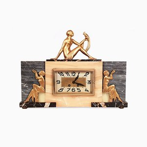 Art Deco Marble And Gilt Bronze Clock from Martin, 1930s