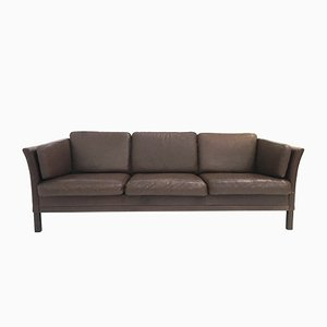 Mid-Century Danish Brown Leather 3-Seater Sofa from Mogens Hansen, 1960s