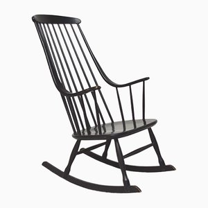 Black Lacquered Rocking Chair by Lena Larsson for Nesto, 1960s