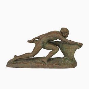 Art Déco Skulptur aus Terrakotta von Ugo Cipriani, 1930er