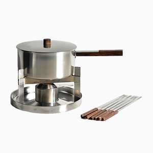 Small Vintage Teak Fondue Set by Peter Holmblad for Stelton, 1960s