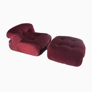 Vintage Soriana Armchair & Ottoman Set by Tobia & Afra Scarpa for Cassina
