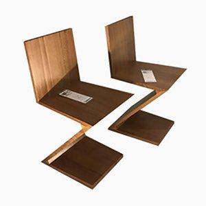 Zig Zag Esszimmerstühle von Gerrit Rietveld für Cassina, 1970er, 2er Set