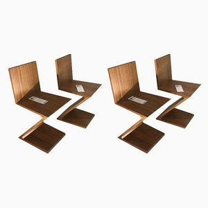 Elm Wood Dining Chairs by Gerrit Rietveld for Cassina, 1970s, Set of 4