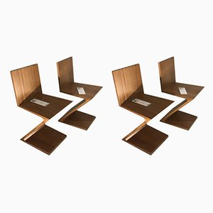 Zig Zag Chairs by Gerrit Rietveld for Cassina, 1970s, Set of 2
