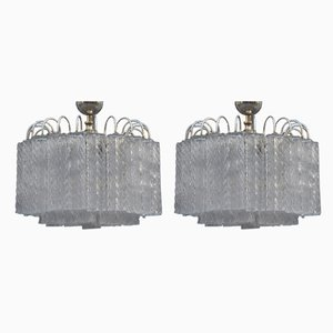 Ice Glass Ceiling Lamps from Venini, 1960s, Set of 2