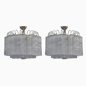 Lámparas de techo de cristal de hielo de Venini, años 60. Juego de 2