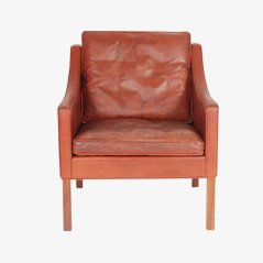 Model 2207 Red Leather Easy Chair by Børge Mogensen for Fredericia